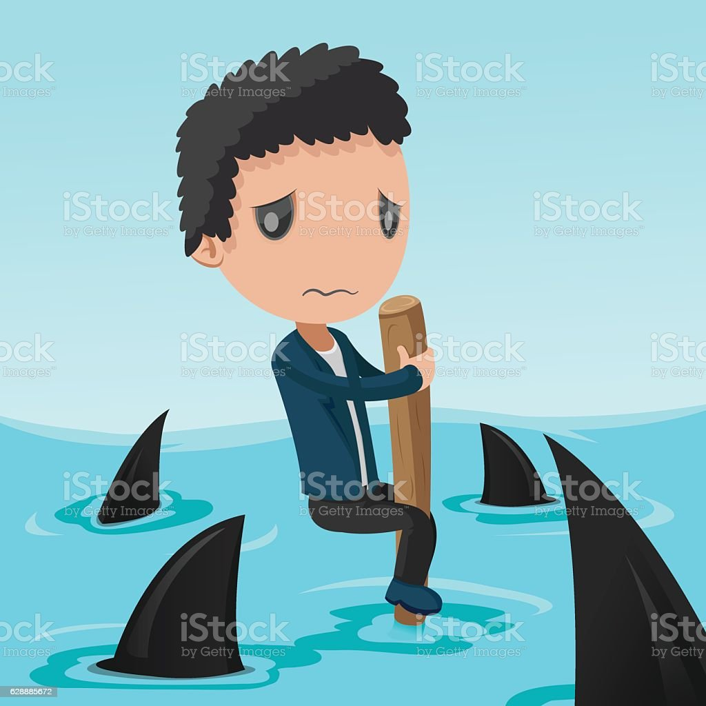 Business Man Afraid Shark Sea Vector vector art illustration