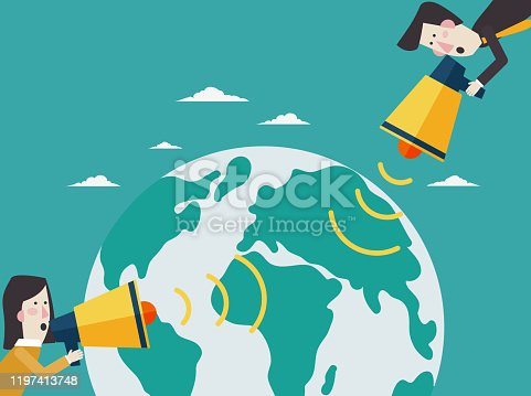 910149000istockphoto Business man and businesswoman shouting in a megaphone. Man announcing through loudspeaker advertising. Announcing promotion and banners concept 1197413748