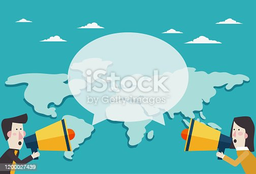 910149000istockphoto Business man and businesswoman shouting in a megaphone. Man announcing through loudspeaker advertising. Announcing promotion and banners concept 1200027439