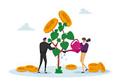 istock Business Man and Woman Characters Watering Money Tree, Growing Wealth Capital for Refund Care of Plant with Gold Coins 1284636520