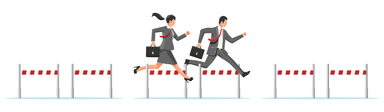 Business man and woman competing in steeplechase race. Businesswoman and businessman jumping over barrier. Financial crisis. Risk management challenge. Achievement and goal. Flat vector illustration