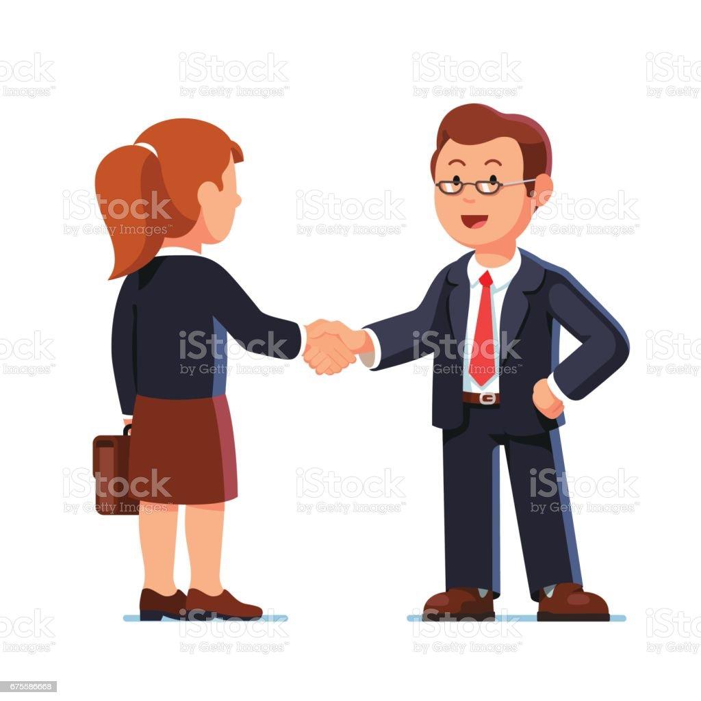 Business man and woman shaking hands firmly business man and woman shaking hands firmly – cliparts vectoriels et plus d'images de accord - concepts libre de droits