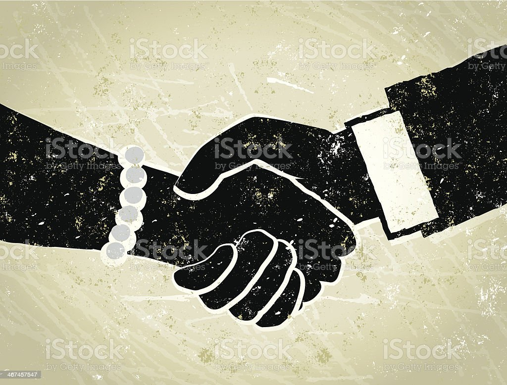 Business Man and Woman Shaking Hands Illustration Done Deal! A stylized vector cartoon of a Businessman and Woman shaking hands, the style is  reminiscent of an old screen print poster, suggesting agreement, deal making, done deal, affirmation, greeting, partnership. Hands, paper texture and background are on different layers for easy editing.  Adult stock vector
