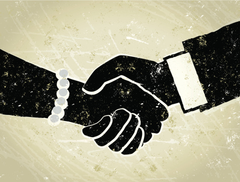 Business Man And Woman Shaking Hands Illustration Stock Illustration - Download Image Now