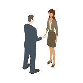 Royalty free illustration of a business man and woman during handshake is presented in isometric view, in a flat vector style on a white background.
