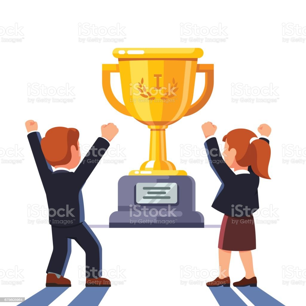 Business man and woman standing in front of cup business man and woman standing in front of cup – cliparts vectoriels et plus d'images de adulte libre de droits