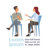 Business Man And Woman Talking Discussing, Businesspeople Chat Sitting Communication Flat Vector Illustration