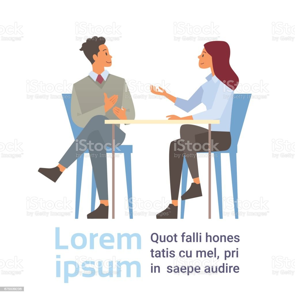 Business Man And Woman Talking Discussing, Businesspeople Chat Sitting Communication vector art illustration