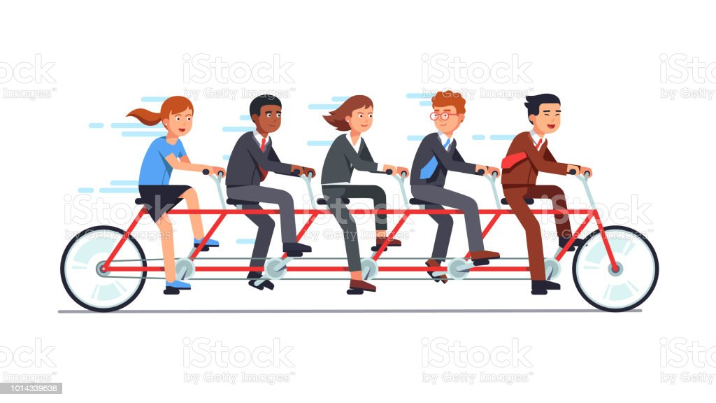 Business man and woman team group riding on tandem bike together. Flat vector clipart illustration vector art illustration
