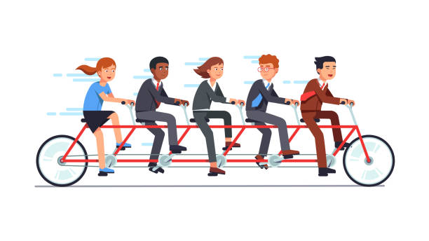 Business man and woman team group riding on tandem bike together. Flat vector clipart illustration Business people group riding fast on five person tandem bicycle, man and woman in good coordination. Successful businessman collective teamwork cooperation concept. Flat vector illustration five people stock illustrations