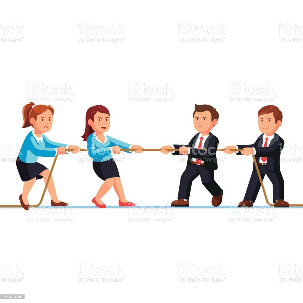Business man and woman teams competition metaphor vector art illustration