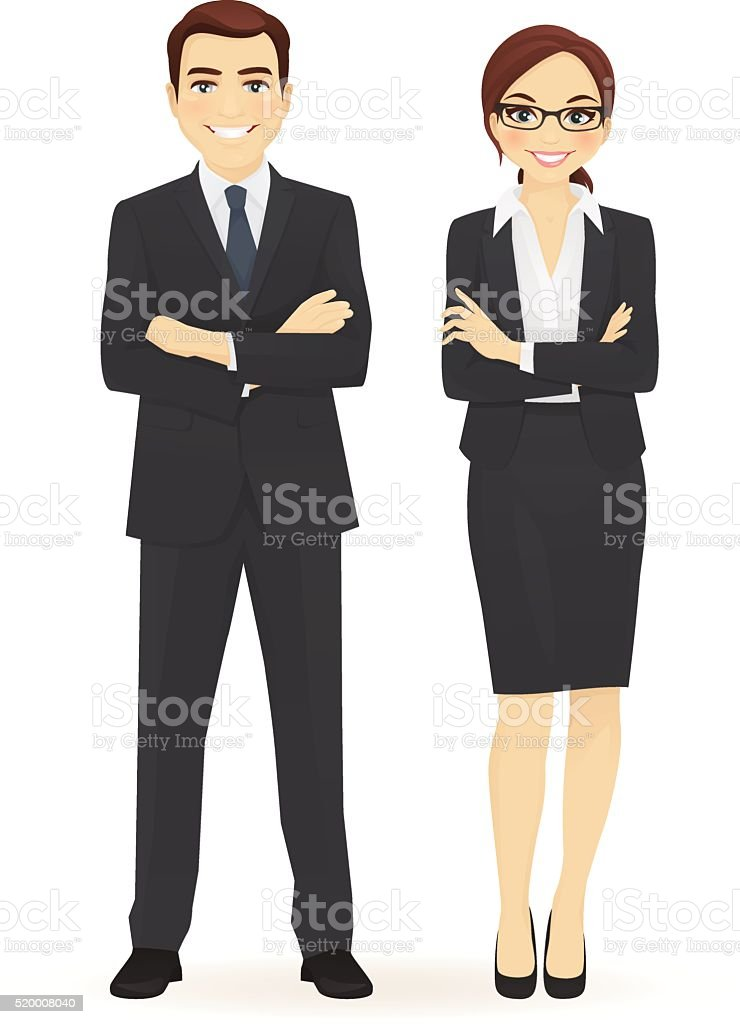Business man and woman vector art illustration