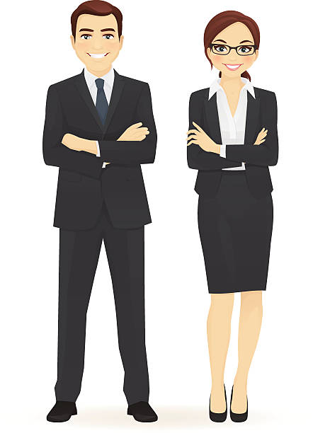business man and woman - businessman stock illustrations, clip art, cartoons, & icons