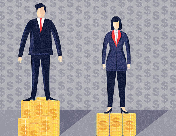 Business Man and Woman Workplace Inequality vector art illustration