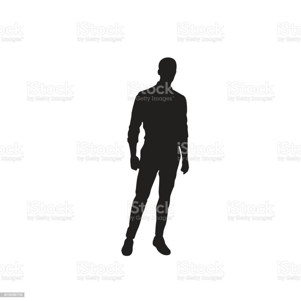 Business Man Black Silhouette Standing Full Length Over White Background vector art illustration