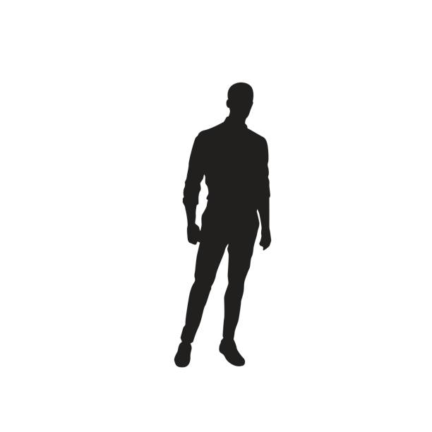 business man black silhouette standing full length over white background - adults only stock illustrations