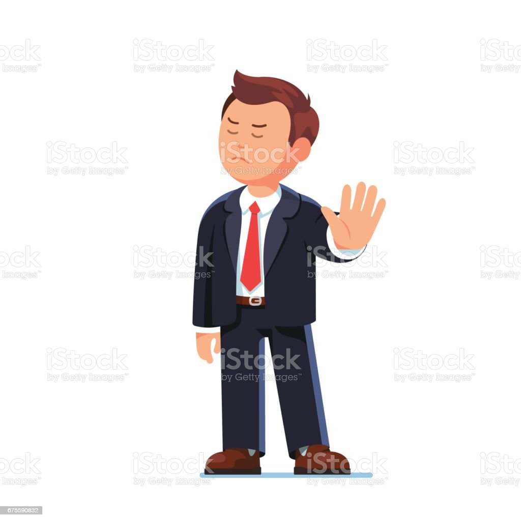 Business man boss rejecting with stop hand gesture vector art illustration