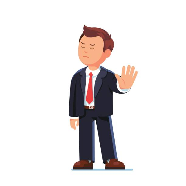 Business man boss rejecting with stop hand gesture Angry business man or strict boss standing and rejecting something with stop hand gesture. Flat style modern vector illustration isolated on white background. rejection stock illustrations