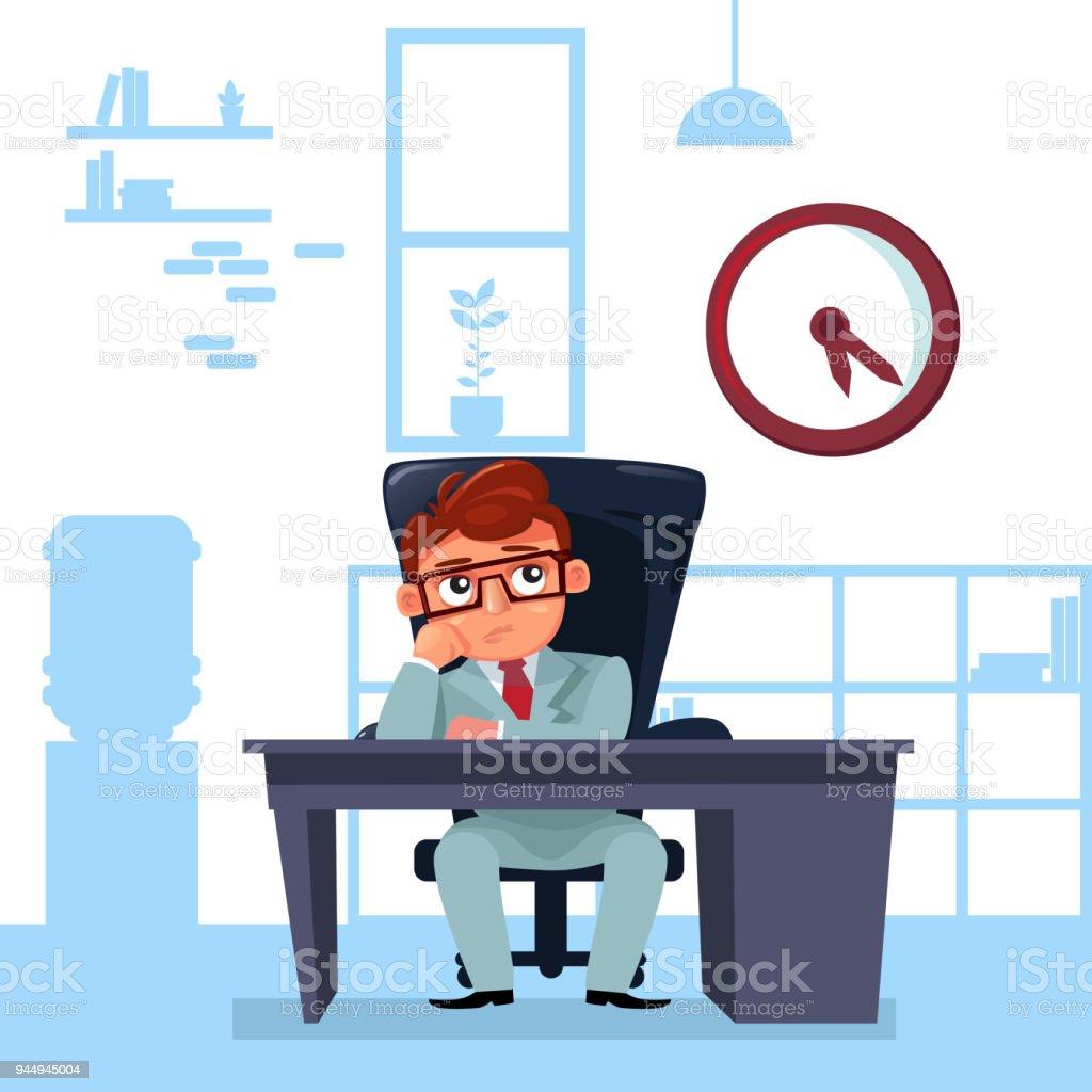 Business Mann Chef Sitzen Am Schreibtisch Uhr Termin Konzept Zu Betrachten  Lizenzfreies Business Mann Chef Sitzen
