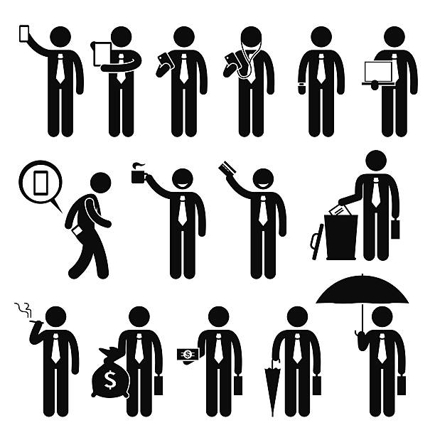 bildbanksillustrationer, clip art samt tecknat material och ikoner med business man businessman holding various objects pictogram - hålla