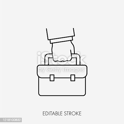 istock Business man carrying a briefcase. Editable Stroke 1218100832