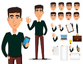 Business man cartoon character creation set. Young handsome smiling businessman in smart casual clothes. Build your personal design - stock vector