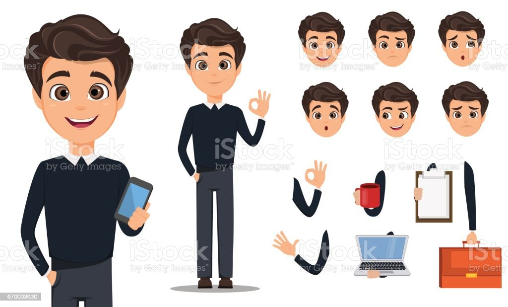 Business man cartoon character creation set. Young handsome smiling businessman in smart casual. Build your personal design - stock vector