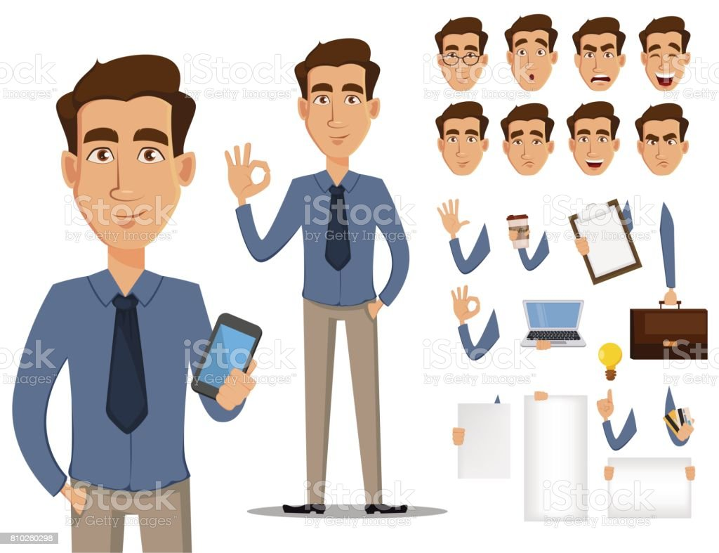 Business man cartoon character creation set. Young handsome smiling businessman in office style clothes. Build your personal design - stock vector vector art illustration