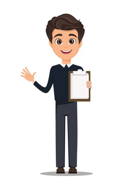 business man cartoon character. young handsome smiling businessman in smart casual clothes holding blank clipboard - stock vector - business casual fashion stock illustrations