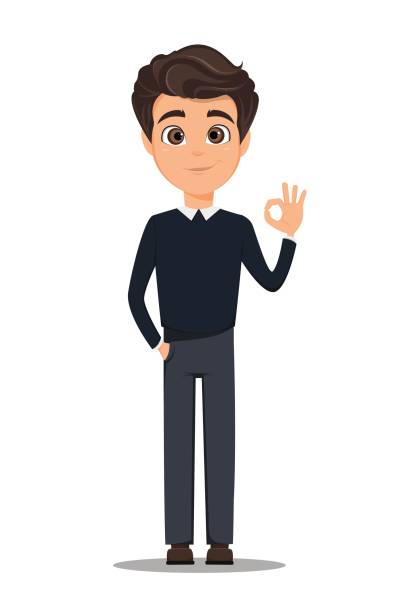 business man cartoon character. young handsome smiling businessman in smart casual clothes showing ok gesture - stock vector - preppy fashion stock illustrations, clip art, cartoons, & icons