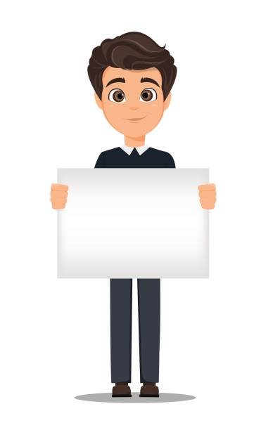 business man cartoon character. young handsome smiling businessman in smart casual clothes holding blank banner - stock vector - business casual fashion stock illustrations