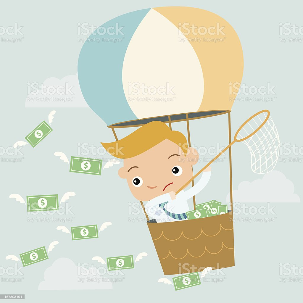 business man catch money on balloon royalty-free stock vector art