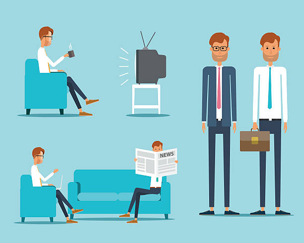 business man character concept business man character concept  watching tv stock illustrations