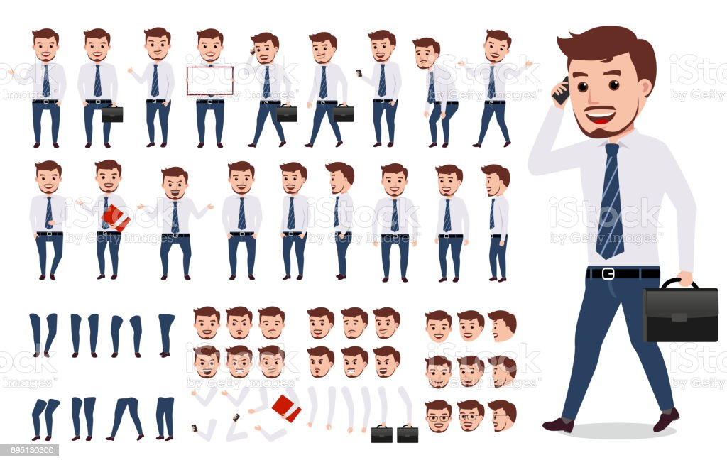 Business man character creation set. Male vector character walking vector art illustration