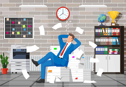 Business man character sleep in bunch of papers.