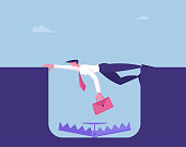 istock Business Man Character Survive in Crisis, Bankruptcy Concept. Scared Businessman Character Hanging above Deep Hole with Trap on Bottom. Bank Demand Debt from Client. Cartoon Vector Illustration 1212582981