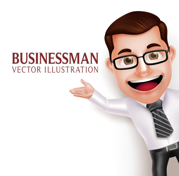 business man character  waving hand for presentation in empty white - caricatures stock illustrations, clip art, cartoons, & icons