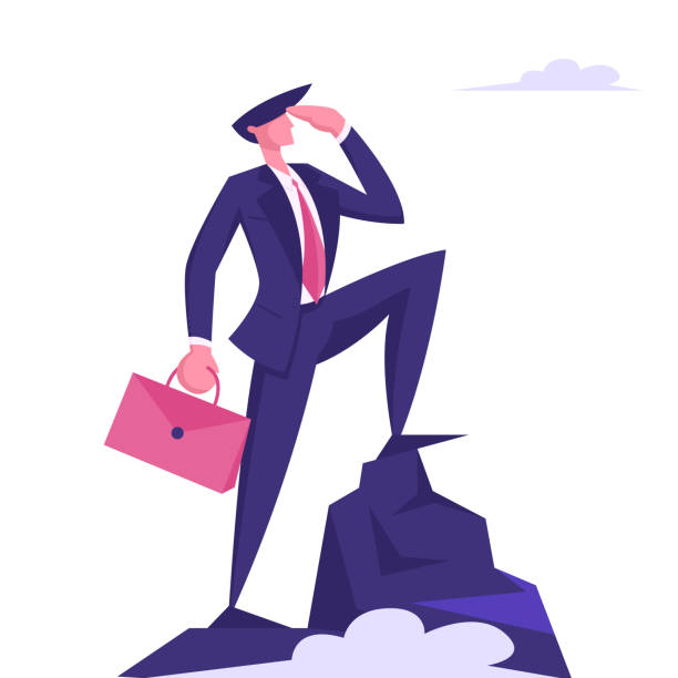 Business Man Character with Briefcase in Hand Looking to Distance on Top of Mountain. Successful Businessman on Peak, Leadership, Goal Achievement, Marketing Strategy Cartoon Flat Vector Illustration Business Man Character with Briefcase in Hand Looking to Distance on Top of Mountain. Successful Businessman on Peak, Leadership, Goal Achievement, Marketing Strategy Cartoon Flat Vector Illustration human limb stock illustrations