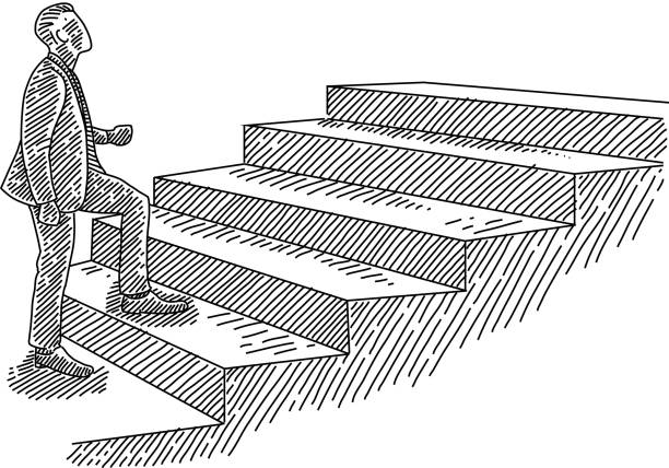 Best Drawing Of Man Walking Up Stairs Illustrations, Royalty-Free