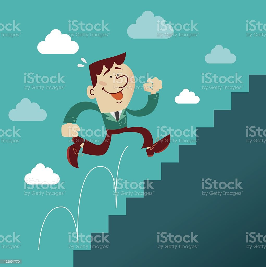 Business man climbing vector art illustration