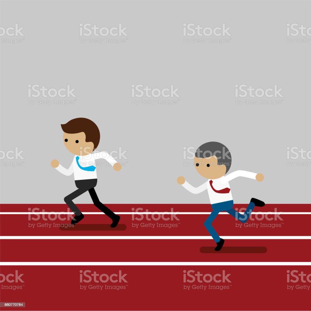 Business man competitive vector art illustration