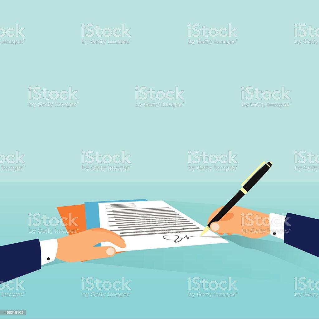 Business Mann Dokumenten Anmelden Vertrag Schreiben Vereinbarung