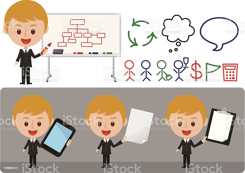 business man doing presentation royalty-free business man doing presentation stock vector art & more images of achievement