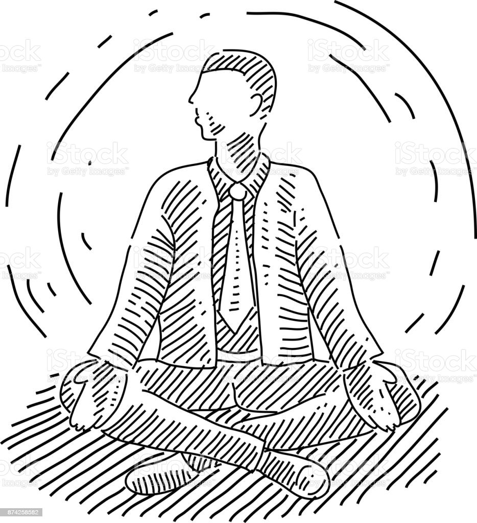 Business Man Doing Yoga Drawing Stock Illustration