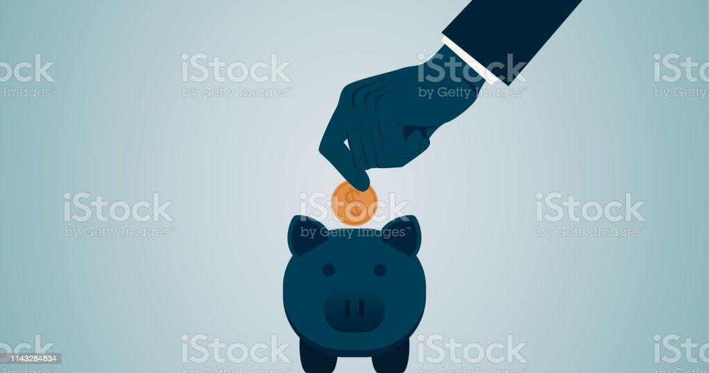 Blauwe Design Bank.Business Man Dropping Dollar Munt Naar Spaarpot In Platte Icon