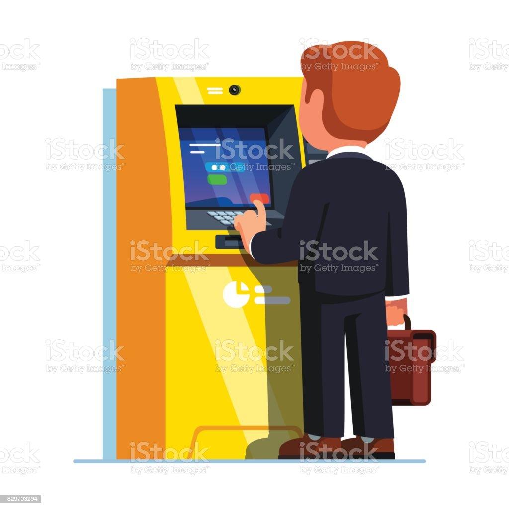 ビジネスの男性は、PIN コードを入力します。通り ATM ベクターアートイラスト