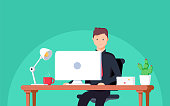 Business man entrepreneur in a suit working at his office desk. Vector illustration in flat style
