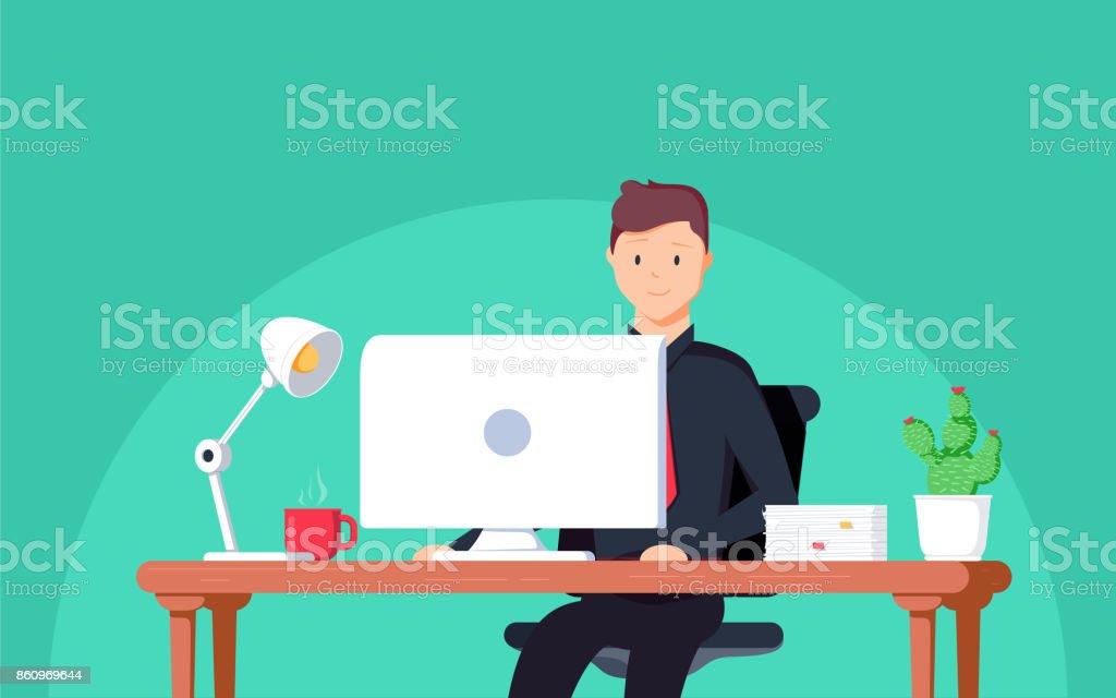 Business-Mann-Unternehmer in einem Anzug an seinem Schreibtisch arbeitet. Vektor-Illustration im flachen Stil – Vektorgrafik