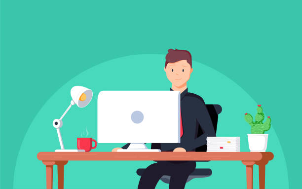 bildbanksillustrationer, clip art samt tecknat material och ikoner med företag man entreprenör i en kostym som arbetar på hans skrivbord. vektorillustration i platt stil - bord