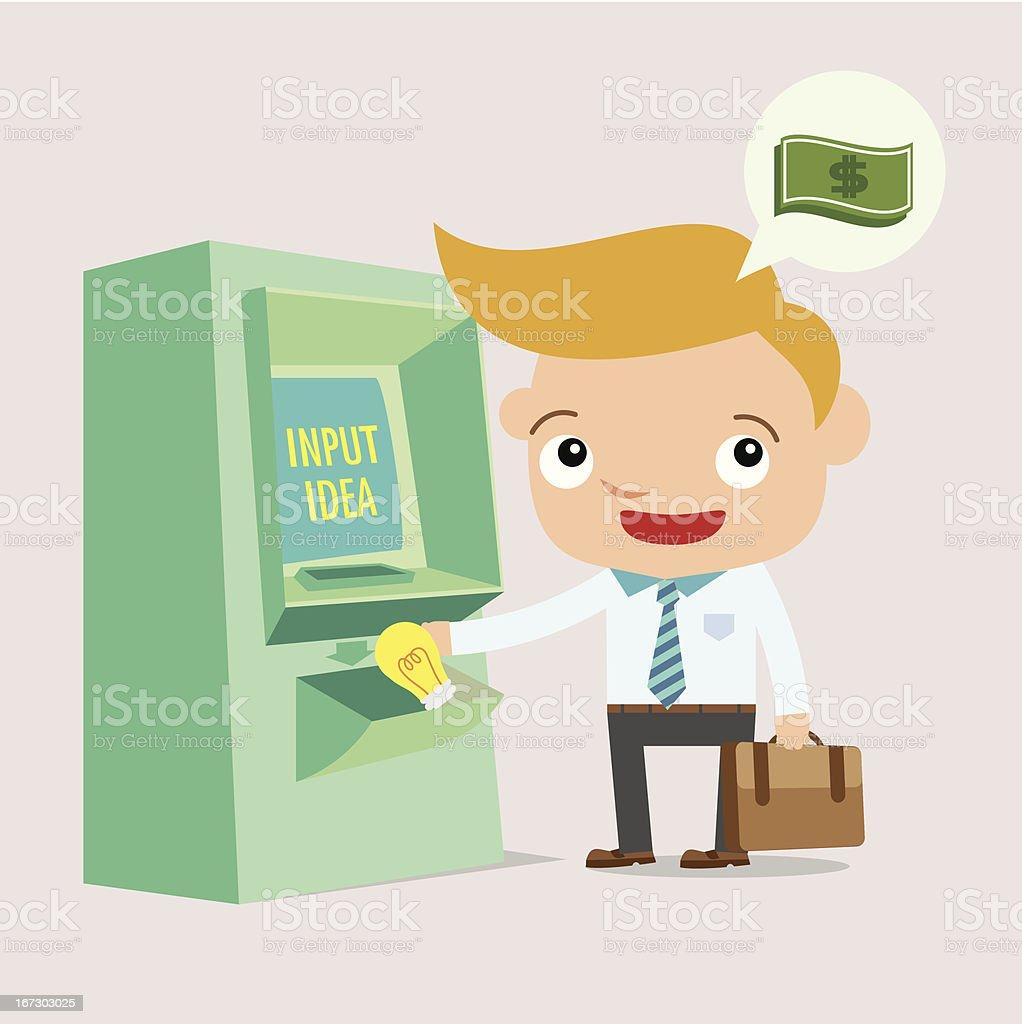 business man exchange money idea machine royalty-free stock vector art
